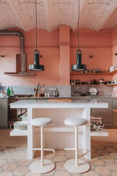A Barcelona Apartment That Makes the Case for a Pink Kitchen