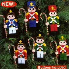 CANDY CANE SOLDIER ORNAMENTS 1/3