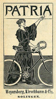 Fahrradwerbung mit Dame mit einem Fahrrad-Rad- Muster- Rock 1899 Patria, Solingen