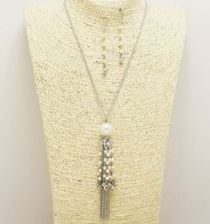 Silver and Cream Pearl Tassel Necklace Set