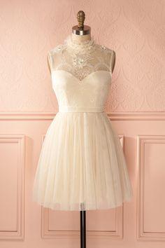 Aerlene - Cream tulle and lace dress Unique Dresses, Short Dresses, Prom Dresses, Summer Dresses, Formal Dresses, Dream Dress, Dress Skirt, Sequin Dress, Lace Dress