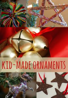 These homemade Christmas ornaments are so easy and fun that kids can make them with help. What a festive family tradition! Kids Christmas Ornaments, Christmas Crafts For Kids, Christmas Decorations To Make, Homemade Christmas, Christmas Carol, Holiday Crafts, Holiday Fun, Christmas Diy, Holiday Ideas