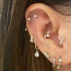 Cartilage Jewelry, Daith Earrings, Ear Jewelry, Tragus, Cute Jewelry, Gold Earrings, Jewlery, Full Ear Piercings, Cool Piercings