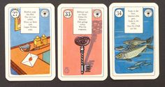 "Antique Lenormand Cards ca 1950s, Stralsunder Fortune Telling Cards with German Verse. Card Size: 3 3/8"" x 2 1/8"" Inches."