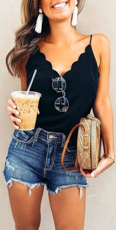 Trendy Summer Outfits, Summer Fashion Trends, Spring Summer Fashion, Casual Outfits, Fashion Ideas, Casual Shorts, Summer Clothes For Women, Style Summer, Spring Break