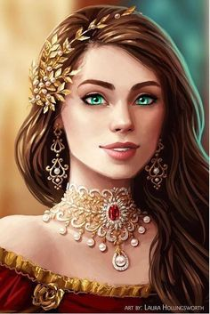 f npc Noble Robes Necklace Jewelry portrait character Castle urban City Fantasy Girl, Chica Fantasy, Fantasy Art Women, Beautiful Fantasy Art, Fantasy Princess, Fantasy Character Design, Character Inspiration, Character Art, Digital Art Girl