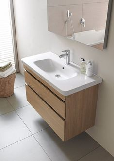 Furniture from Duravit have the right balance of quality and style. Duravit DuraStyle White Matt Vanity Unit With Basin now available on-line. Wall Mounted Bathroom Sinks, Bathroom Vanity Base, Wall Mounted Vanity, Small Bathroom, Vanity Set, Bathroom Vanities, Bathroom Makeovers, Bathroom Ideas, Bamboo Bathroom