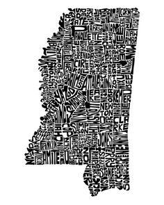 Typographic Mississippi Art Print