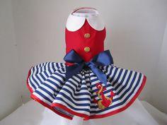 Dog Dress XS   Sailor Dress Red By Nina's by NinasCoutureCloset, $50.00