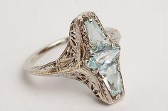 Art Deco 14k White Gold Filigree 3 Stone Fancy Cut Aquamarine Ring – Vintage | eBay