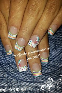 New nails french design ring finger polka dots ideas Spring Nail Art, Spring Nails, Summer Nails, Fabulous Nails, Gorgeous Nails, Pretty Nails, Fancy Nails, Get Nails, French Tip Nails