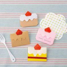 一枚の紙で作れる!かわいいショートケーキのお手紙の折り方(おりがみ) | ぬくもり