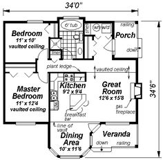 First Floor Plan of Ranch House 58512 - lake house style, two porches, 925 square feet, 2 BR 1 bath, lots of windows.  Combine tub and shower, make second bedroom bigger, reconfigure W/D/storage and back porch