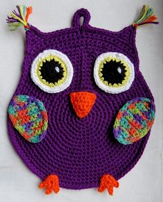 Topflappen häkeln                                                                                                                                                                                 Mehr Owl Crochet Patterns, Potholder Patterns, Crochet Owls, Crochet Potholders, Baby Knitting Patterns, Crochet Animals, Crochet Baby, Knit Crochet, Dishcloth Crochet