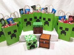 Minecraft Party Decorations 12 Creeper bags and 3 solid table blocks, Grass Block, Creeper and Treasure Chest avail at: www.etsy.com/shop/MrKittensCrafts