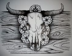 cow skull ink drawing by me (kristi richards, woundedknee84 on etsy)