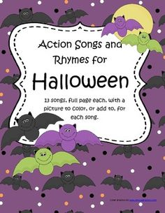 FREE This is a collection of 13 songs with a Halloween theme. A full page each, with a picture to color, or add to, for each song. 14 pages (Halloween Invitations Poem) Halloween Songs, Halloween Activities, Holidays Halloween, Halloween Themes, Halloween Week, Halloween Crafts, Preschool Songs, Kids Songs, Fall Preschool
