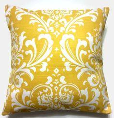Living Room: yellow damask pillow