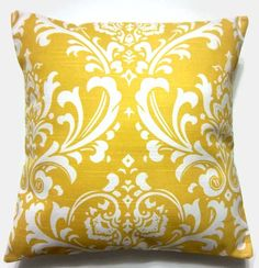 Living Room: yellow damask pillow