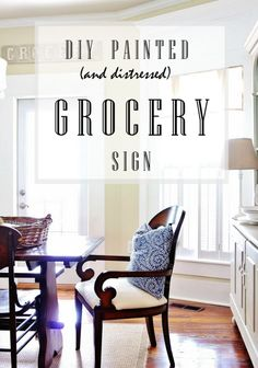 DIY Distressed Grocery Sign that is quick and easy to create Wood Projects For Beginners, Diy Wood Projects, Thistlewood Farms, Diy Signs, Wood Signs, Porch Decorating, Decorating Ideas, Craft Ideas, Project Ideas