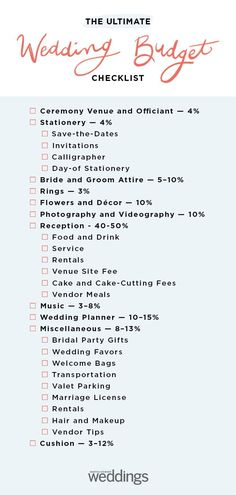 Wedding Budget Checklist - - We've outlined the major expenses allotted to each wedding category to help you plan your wedding budget. Wedding Ceremony Ideas, Wedding Reception Timeline, Wedding Planning Timeline, Budget Wedding, On Your Wedding Day, Perfect Wedding, Wedding Events, Wedding Hacks, Dream Wedding