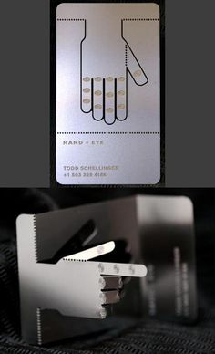 Creative Articulated Laser Cut Metal Business Card - once folded the card stands up on its own and can hold an envelopeor invoice