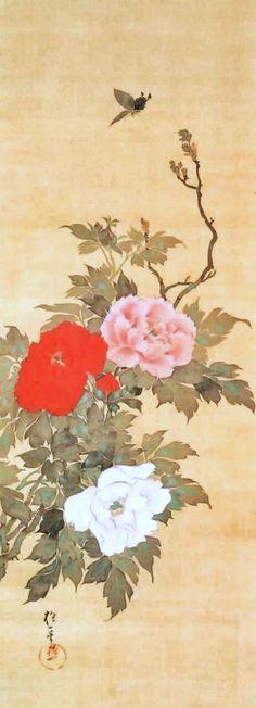 日本には酒井抱一とゆー男が居た - すそ洗い. Sakai Hoitsu. Peonies and Butterfly. Japanese hanging scroll. Edo period.