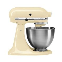 KitchenAid Ultra Power . Qt Stand Mixer- Almond Creme KSM95 ($300) ❤ liked on Polyvore featuring home, kitchen & dining, small appliances, ivory, kitchen aid standing mixer, kitchen aid food grinder, kitchen aid stand mixers, kitchenaid and kitchenaid pasta machine