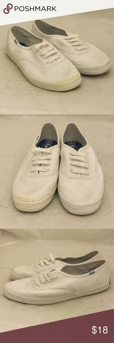 Keds White Sneakers Keds White Sneakers. Size 6 1/2. These sneakers are end of season shelf pulls with some wear and blemishes. Keds Shoes Sneakers