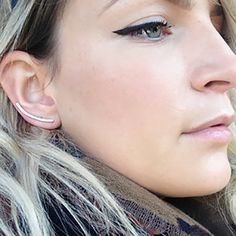 Minimalist Rose Gold Ear Climbers Simple Gold by GLAMROCKSdesigns