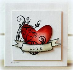 Use a heart stamp from any of the following SU stamp sets: Just for Fun, Button Bear, A Greeting for All Reasons & overlay with flourish stamp from Elements of Style set.