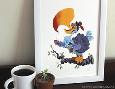 Dodo drinking coffee Fine Art Print by Drinking Coffee, Coffee Drinks, Terrapin, Toad, Limited Edition Prints, Nursery Art, Gouache, Fine Art Prints, Original Art