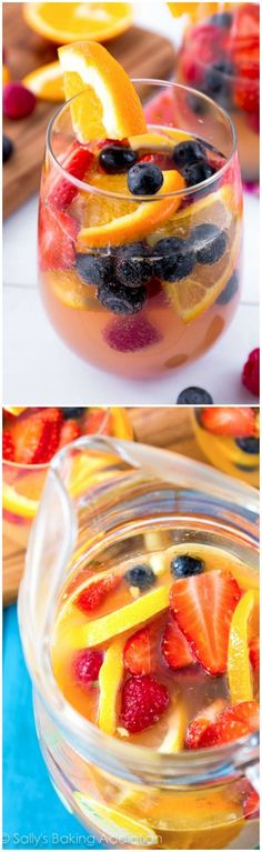The BEST white sangria! Fruity, bubbly, and perfect for any occasion! @sallybakeblog