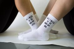 All I need is coffee and my LITTLE! These sorority socks are a fun and super cute gift for your Big or Little! Sold by the pair, our 1/2 cushion crew socks are comfy too!  Our made-to-order socks are digitally printed with eco-friendly inks (no bleach please!). The design is printed on the outside of each sock. Please select BIG or LITTLE, or purchase a matching set!  Available colors: White socks  This 1/2 cushion no show sock fits a sock size 9-11, women's US shoe size 5-9.