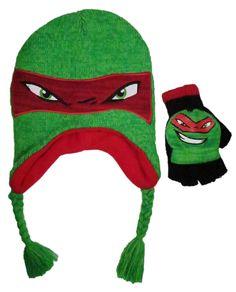 Teenage Mutant Ninja TMNT Turtles Boys  Raphael Acrylic Laplander knitted  Scandinavian Winter Hat and Convertible bb6447b1fad5