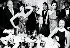 From left, Reinaldo Herrera, Dita Von Teese, Mayor Michael Bloomberg, Wendi Deng Murdoch, and Diana Taylor. Photographed by Mario Testino. Styled by Jessica Diehl.