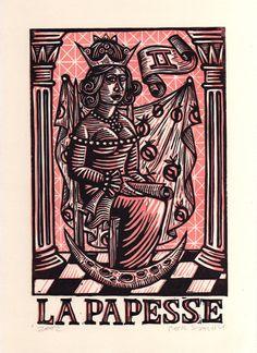 High Priestess Tarot Linocut Art Print