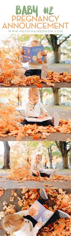 Check out this adorable fall weather pregnancy announcement for baby #2.