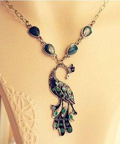 Amazon.com: JA321 Faux Emerald Peacock Pendant Necklace, Large Stunning Design Necklace: Beauty