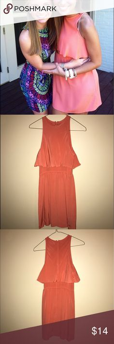 Tibi Coral Cocktail Dress Size 0 Tibi Coral Cocktail Dress Size 0, perfect condition, dry clean only, overlay ruffle detail on top Tibi Dresses Mini