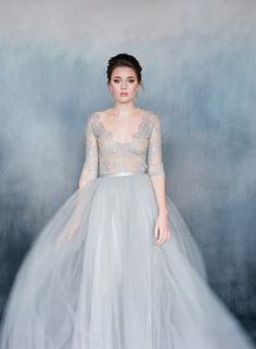 Elegant Gray Ball gown with Tulle and Grey Blue French Lace. The Perfect Bridal Dress for a Fall or Winter Wedding! Lace Wedding Dress, Blue Wedding Dresses, Long Sleeve Wedding, Bridal Dresses, Wedding Gowns, Tulle Wedding, Green Wedding, Wedding Shoes, Wedding Venues