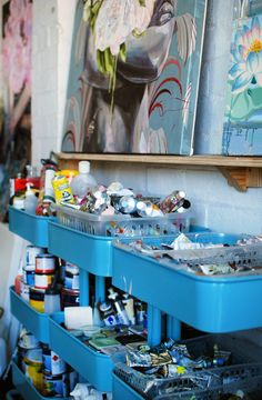 art Studio of Australian artist Jessica Watts. Photo by Lisa Tilse for We Are Scout. Those look like IKEA carts lined up full of supplies! It's always inspiring to see where others create. Lots of photos here of her studio.