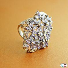 Tanzanite Ring in Platinum Overlay Sterling Silver (Nickel Free)   Liquidation Channel