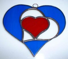 Heart in a heart in a heart Stained Glass Projects, Stained Glass Patterns, Stained Glass Art, Stained Glass Windows, Mosaic Glass, Fused Glass, Stained Glass Suncatchers, Window Hanging, Heart Patterns