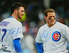 Anthony Rizzo & Kris Bryant Dual Signed Chicago Cubs Pinstripe Jersey 16x20 Photo - MLB COA