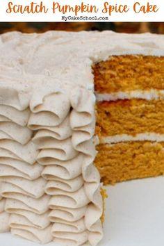 Fall Cake Recipes, Spice Cake Recipes, Cake Recipes From Scratch, Pumpkin Recipes, Dessert Recipes, Fall Desserts, Dessert Ideas, Cake Ideas, Pumpkin Birthday Cakes