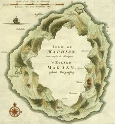 This detail from an unusual map of Makian Island was engraved by the Dutch cartographer Jacob Van der Schley in 1750.  The Möbius-like arrangement of mountains may have been intended to indicate a large crater in the center of the island.