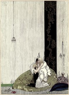 """Kay Nielsen - illustration to Blue Belt, from """"East of the Sun, West of the Moon"""", """"The Lad in the Bear's skin, and the King of Arabia's daughter."""""""