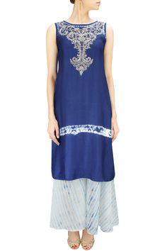 Indigo embroidered tunic with maheshwari palazzo BY KRISHNA MEHTA. Shop now at…