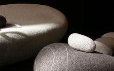 Contemporary Pebble Pillow Design for Home Interior Accessories, Livingstones by Stephanie Marin Livingstone, Floor Cushions, Seat Cushions, Home Interior Accessories, Deco Zen, Pebble Floor, Puff, Pillow Texture, Inspiration Design